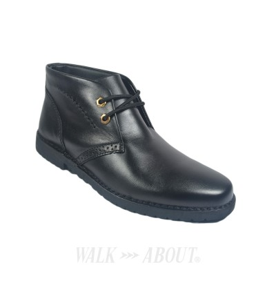 Walk About® Lace-up Retro Boots with Genuine Soft Cow Leather (121 Black 18)