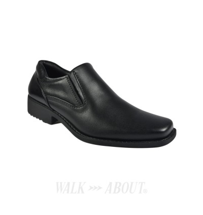 Walk About® Men Slip-on Shoes with Genuine Soft Cow Leather (921 537 Black 18)