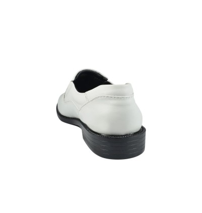 Walk About® Men Slip-on Shoes with White Genuine Soft Cow Leather (3801 White 11)